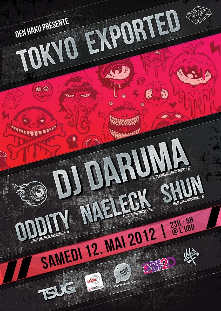 TOKYO EXPORTED  concert le 12 Mai à l'UBU avec des DJs Japonais et les bénéfices reversés à la ville de Sendai