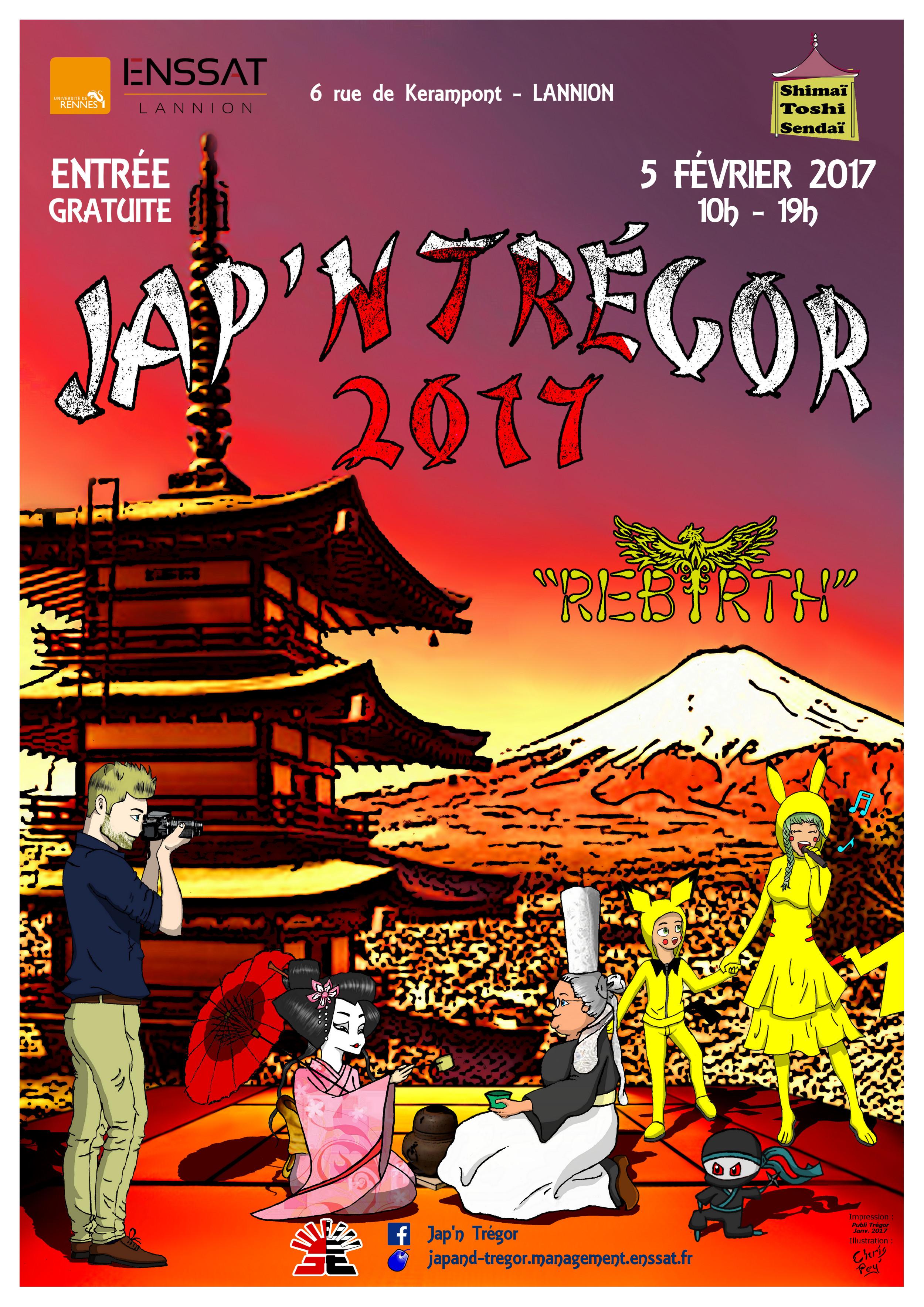 Jumelage Rennes Sendai participe au Festival «JAP'N TREGOR» à l'ENSSAT, Lannion (le dimanche 5 février de 10 h à 19 h)